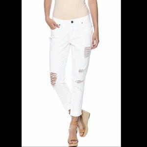 Elan white cropped jeans 100% cotton no stretch